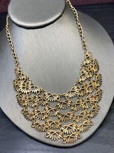 "Vintage Necklace Bib statement Gold Tone  Intricate Link 2 Inch Bib 16"" Long"