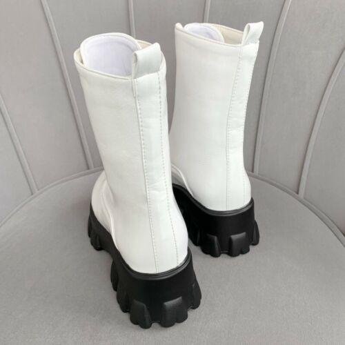 Women British Chunky 6cm Heel Front Zip Round Toe Ankle Combat Boots Biker Shoes