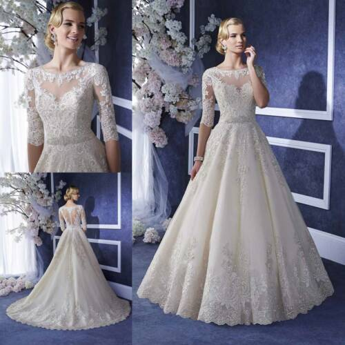 Wedding Dresses Half Sleeves Bride Bridal Gowns A Line Plus Size 4 8 12 16 18 20