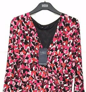 M-amp-S-Marks-Red-Mix-Ladies-Abstract-Print-Wrap-Style-Soft-Pull-On-Dress-16S-BNWT