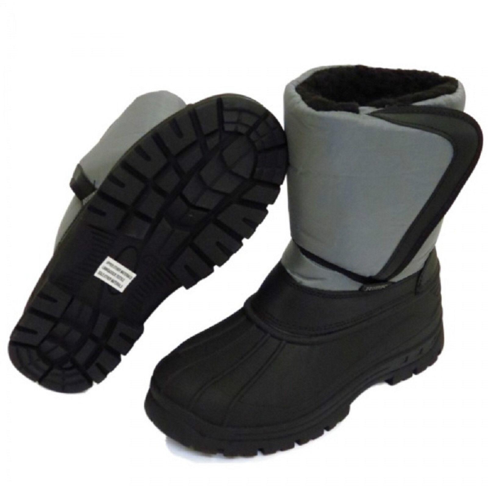 Ladies Black Grey Strap Slip-On Warm Winter Snow Boots Women Sizes UK 3-8