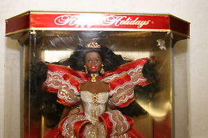 Happy-Holidays-Barbie-Special-Edition-Africian-American-includes-stand