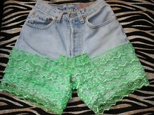Vtg Levis Hand Customised Denim Hot Pants Jeans Shorts Re-work Cut Off Lace W26