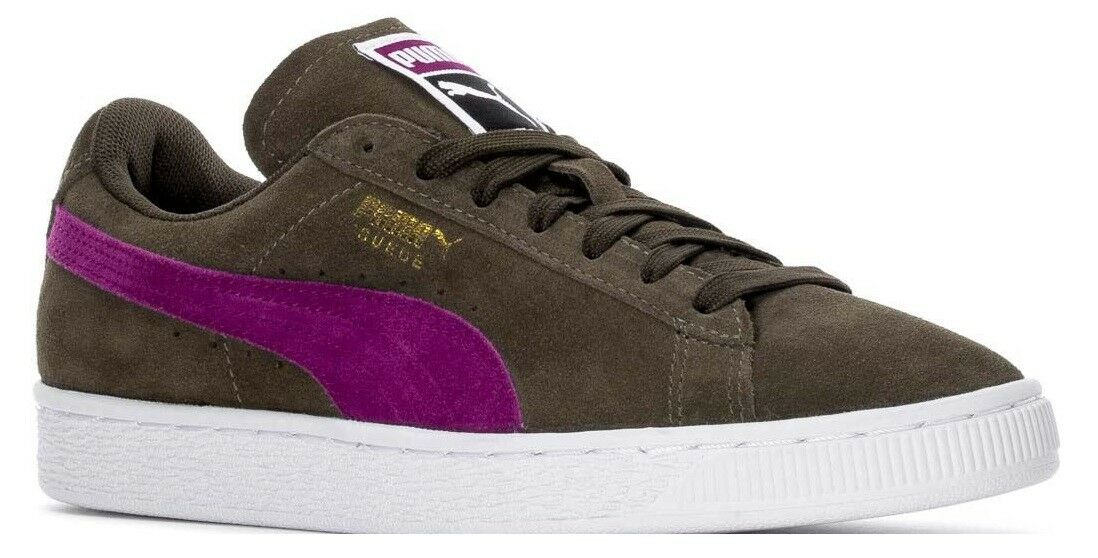 PUMA SUEDE CLASSIC LOW SNEAKERS WOMEN SHOES GREEN PURPLE 355462-55 SIZE 8.5 NEW