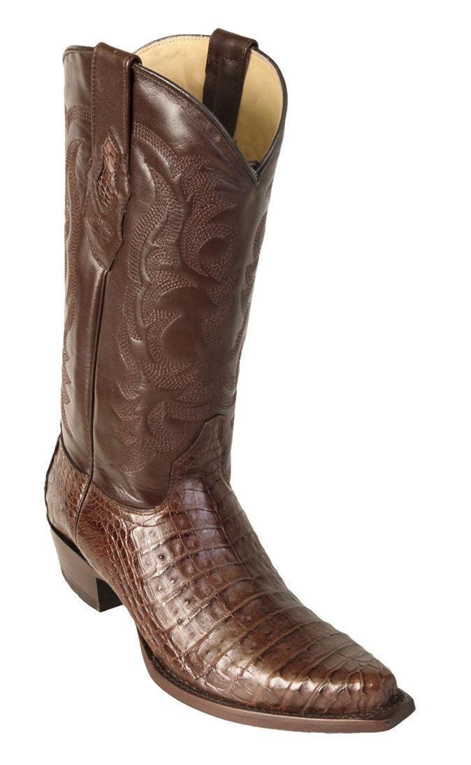 Los Altos Genuine Brown Caiman CROCODILE Belly Snip Toe Western Cowboy Boot D