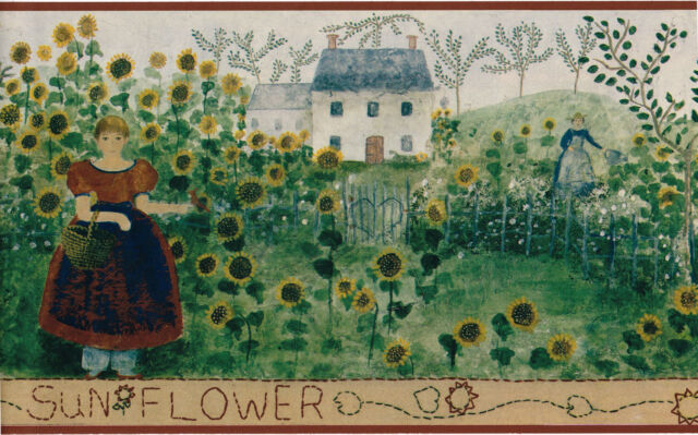 Lot Of 4 Wallpaper Border Primitive Country Farm Sunflowers Garden Brown Eh00060