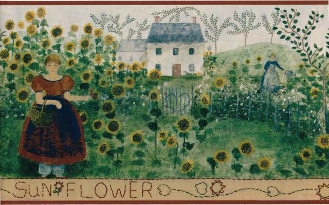 Sunflower Field Garden Country Vintage Primitive Folk Art Green Wallpaper Border