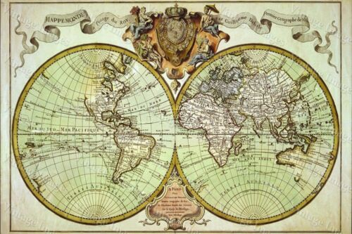 LARGE historic 1720 WORLD MAP OLD ANTIQUE STYLE FINE art print WALL DECOR