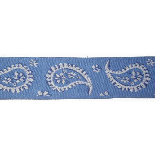 """1.7//16/"""" Azul y Blanco Paisley Diseño Jacquard Cinta x 1 yarda"""
