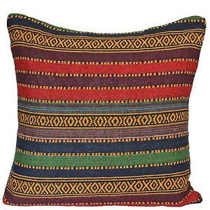 Colorido-Arco-Iris-tejido-de-rayas-DIAMANTES-Azteca-fundas-cojin-50cm-50-8cm