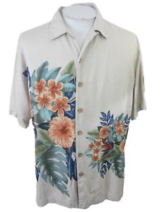 """Paradise Blue Männer Hawaii Camp Shirt L p2p 25"""" Aloha Luau Tropisches Blumenmuster VTG"""