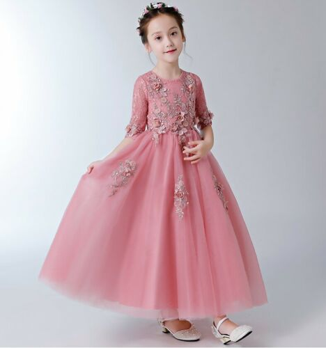 Childrens Girls Elegant Embroidered Floral Ball Gown Wedding Party Dress ZG9