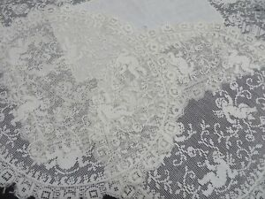 Lot-3-Vtg-Antique-Filet-LACE-Small-Doilies-Putti-Cherubs-2-Round-1-Rectangle