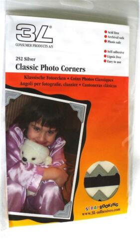 TRADITIONAL CLASSIC SILVER PHOTO CORNERS PACK 252 SELF ADHESIVE PAPER