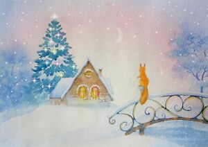 A1-Watercolor-Christmas-Art-Poster-Size-60-x-90cm-Christmas-Poster-Gift-16732