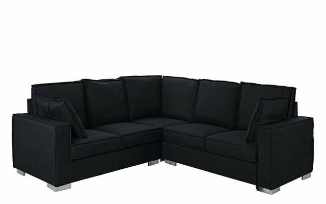 Modern Living Room Linen Sectional Sofa L Shape Couch 2 Pillows Black