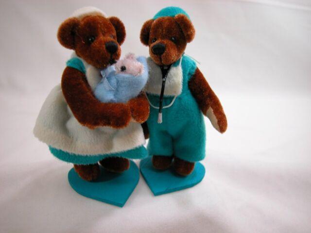 "World of Miniature Bears 3.5"" Velvet Bear Doctor & Nurse #768A Collectible Bears"