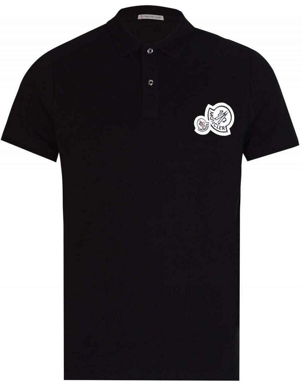 MONCLER Maglia Multi Doppia con Logo Polo nero T-shirt Tee Signature