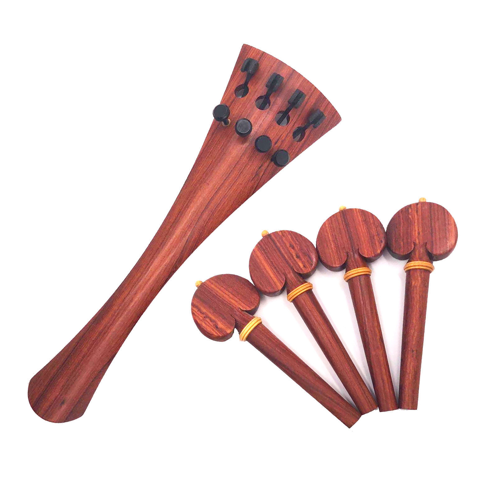 4 4 Size Cello Tailpiece pinkwood pink Wood Screw Fine Tuner Top Quality + Pegs