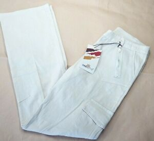 Women-039-s-trousers-size-28-in-Made-in-Italy-beige-cargo-straight-cotton-Ombretta