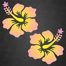 2 Hibiscus Flower Decal Sticker Hawaii Car Window Beach Tropical Pink Yellow