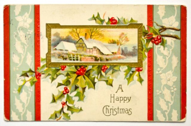 Old Christmas greetings postcard antique divided back embossed mistletoe snow