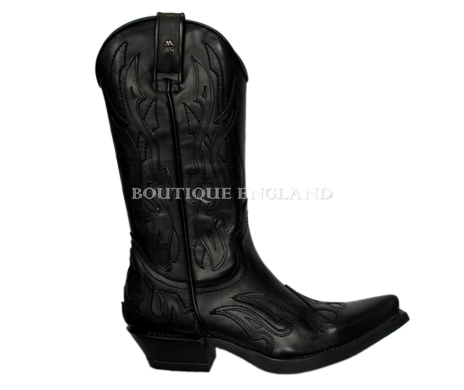 New Rock M.7921-B Black Plain Flame Devil Devil Devil Leather Boot Goth Biker Rock Boots 1515b7