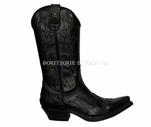motociclista da Goth in pelle di e Stivali pianura New Rock 7921 M b fiamme nera XwY0Cw
