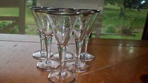 Fostoria Cordial Glasses Stems APeritifs Liqueur glass stems platinum trim 6 1.5