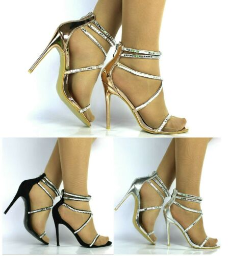 Womens Strappy Sandals Peep Toe High Heel Ladies Cross Straps Party Prom Shoes