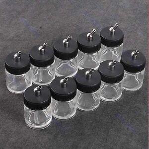 10PCS-Airbrush-Air-Brush-Glass-Bottle-Jar-w-Standard-Suction-Lid-Pump-Spray-Top