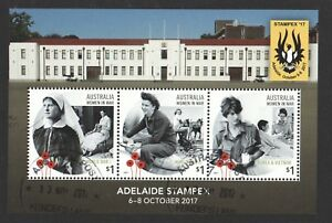 AUSTRALIA-2017-WOMEN-IN-WAR-ADELAIDE-STAMPEX-SOUVENIR-SHEET-3-STAMPS-FINE-USED