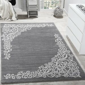 Image Is Loading Grey White Rug Fl Design Glitter Silver Soft