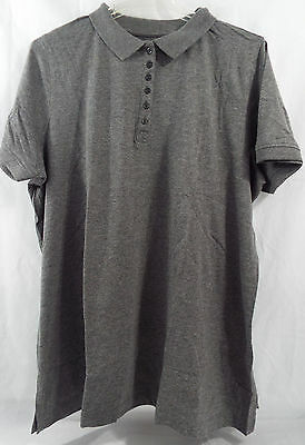 Womens Plus Size Polo Shirt Short Sleeve in Heathered Charcoal Gray in 6X