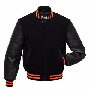 Orange Letterman Wool Sleeves Real Varsity Giacche Nero Rib Leather Stripes WU0PR6qwnw