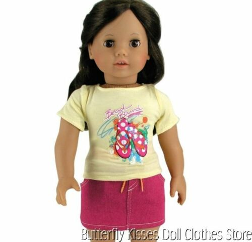 Flip Flop T-Shirt /& Pink Skirt 18 in Doll Clothes Fits  American Girl