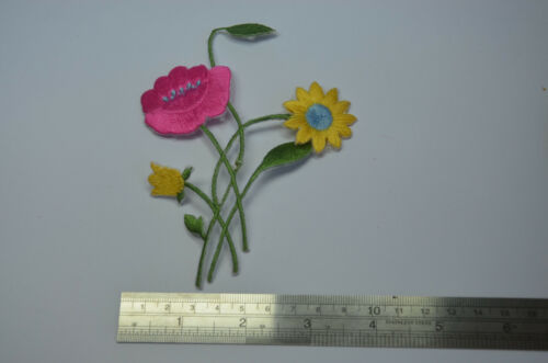 PINK YELLOW FLOWERS BOUQUET Embroidered Sew Iron On Cloth Patch Badge APPLIQUE