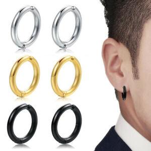 Men Women Stainless Steel Non Piercing Nose Ring Hoop Earrings