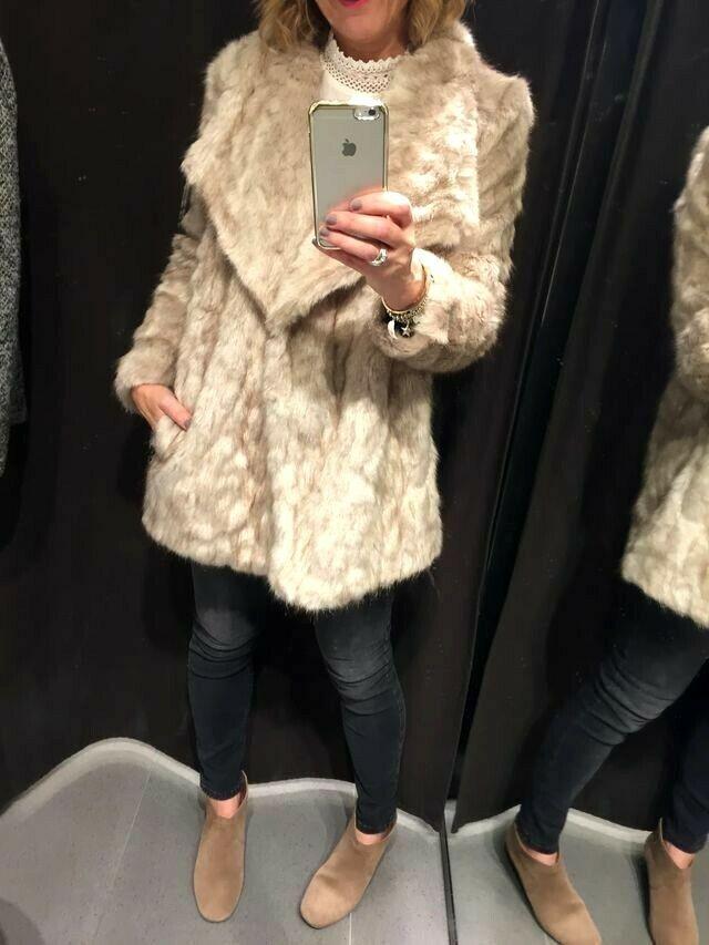 Bloggers FAV     ZARA Color natural suave imitación piel chaqueta abrigo l  en stock