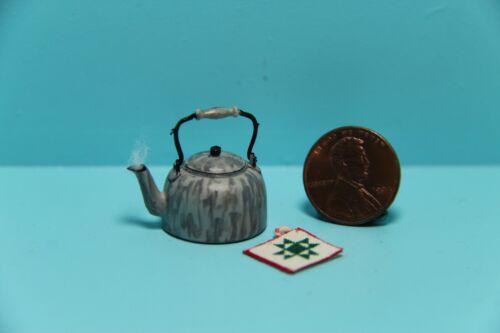 Dollhouse Miniature Grey Enamelware Tea Pot with Steam and Potholder ~ CAR0845