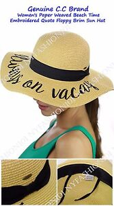 c483232db60 NEW! CC Women's Paper Weaved Beach Time Embroidered Quote Floppy ...