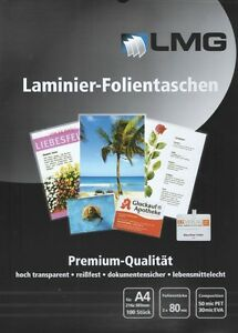 Laminierfolien LMG DIN A4 2 x 80 mic. Laminiertaschen glänzend (10/25/50 Stück)