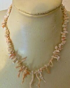 VINTAGE-CORAL-COLLAR-collar-CORAL-blanco-y-rosa-REAL-N-5