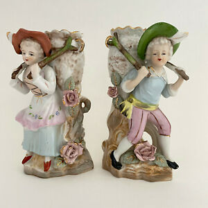 Vintage-Victorian-Ceramic-Hand-Painted-Japan-Girl-and-Boy-Vase-Planter