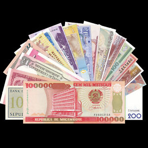 Lot Set 20 PCS Banknotes From 20 Different Countries, UNC