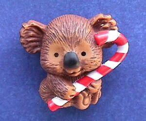Hallmark-PIN-Christmas-Vintage-KOALA-BEAR-CANDY-CANE-Holiday-Brooch