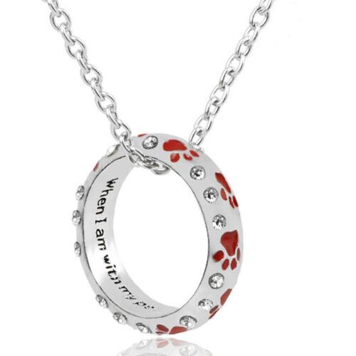 Paw Charm Pendant Chain Necklace Dog Cat Pet Jewelry Silver Pld Heart Bracelet