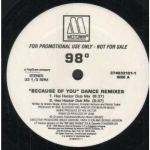 98-DEGREES-Because-Of-You-Dance-Remixes-12-034-MAXI-VINYL-USA-Motown-Promo-4-Track