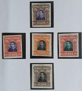 VERY RARE 1891 Honduras lot of 4 Luis Bogran Imperf Colour Trial stamps MNG