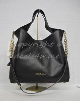 NWT! Michael Kors Devon Large Calf Leather Satchel/Shoulder Tote in Black